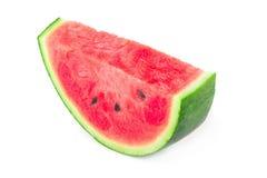 Gesneden die van watermeloen op witte achtergrond wordt geïsoleerd stock afbeelding