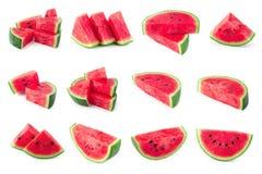 Gesneden die van watermeloen op witte achtergrond wordt geïsoleerd stock afbeeldingen