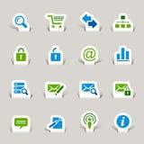Gesneden document - de Pictogrammen van de Website en van Internet Stock Afbeelding