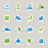Gesneden document - het Winkelen pictogrammen Royalty-vrije Stock Fotografie