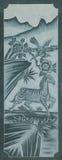 Gesneden Dragon Fighting met Zwaan op de Houten Textuur Als achtergrond stock foto