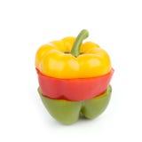 Gesneden Enige Groene paprika Stock Afbeeldingen