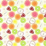 Gesneden Fruit Naadloze Achtergrond Stock Afbeeldingen