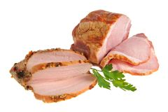 Gesneden geïsoleerd bacon en Turkije met groene bladeren van peterselie Stock Fotografie