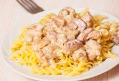 Gesneden gebraden kip in een romige saus met fusillideegwaren Stock Fotografie
