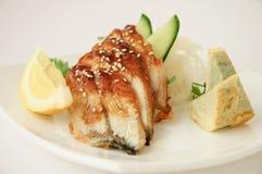 Gesneden gebraden vissen (paling) Stock Afbeeldingen