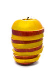 Gesneden gele en rode appelen Stock Foto