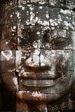Gesneden gezicht bij de Tempel Bayon Stock Foto's