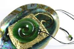Gesneden Greenstone van de Jade Tegenhanger Royalty-vrije Stock Fotografie