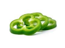 Gesneden Groene paprika Stock Foto's