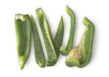 Gesneden Groene paprika's Stock Foto's