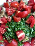 Gesneden groenten: gebakken aubergines, verse tomaten, peterselie royalty-vrije stock fotografie