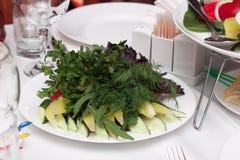 Gesneden groenten met kruiden op een schotel Royalty-vrije Stock Afbeelding