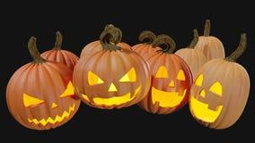 Gesneden Halloween die thuis Jack o lantaarn 3d illustratie pumpking stock afbeeldingen