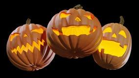 Gesneden Halloween die thuis Jack o lantaarn 3d illustratie pumpking royalty-vrije stock afbeeldingen