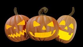 Gesneden Halloween die thuis Jack o lantaarn 3d illustratie pumpking stock afbeelding