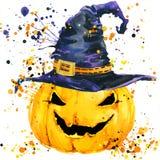 Gesneden Halloween pompoen De achtergrond van de waterverfillustratie voor de vakantie Halloween Stock Foto