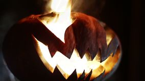 Gesneden Halloween pompoen looped stock footage