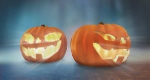 Gesneden Halloween pompoen twee pompoenen 3d Halloween geven terug royalty-vrije illustratie