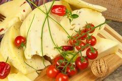 Gesneden harde kaas op de keukenraad Productie van kazen op het landbouwbedrijf Kruidige kaas, tomaten, knoflook, Spaanse pepers, Royalty-vrije Stock Foto
