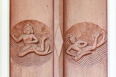 Gesneden houten deuren Royalty-vrije Stock Afbeeldingen
