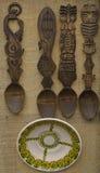 Gesneden houten lepels Royalty-vrije Stock Afbeeldingen