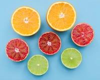 Gesneden kalk en sinaasappelen Royalty-vrije Stock Afbeelding