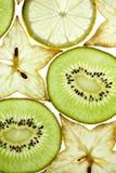 Gesneden Kiwifruit, Citroen en Starfruit stock fotografie