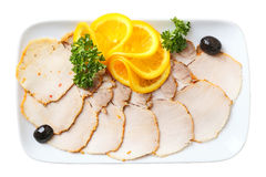 Gesneden koude gekookt varkensvlees Stock Afbeeldingen