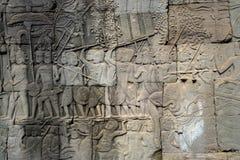 Gesneden muur in Kambodja stock foto