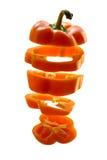 Gesneden oranje peper Stock Afbeelding