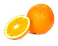 Gesneden oranje, witte achtergrond Stock Foto