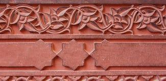 Gesneden ornament, architectuurdetail van het Rode Fort. Agra, Indi Stock Afbeeldingen