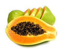 Gesneden papaja Stock Afbeeldingen