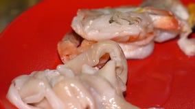 Gesneden pijlinktvis op een rode plaat stock video