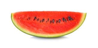 Gesneden rijpe die watermeloen op wit knipsel wordt geïsoleerd als achtergrond Stock Fotografie
