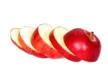 Gesneden rode appel, witte achtergrond Royalty-vrije Stock Afbeelding