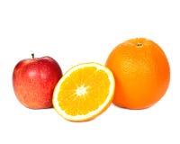 Gesneden sinaasappel en appel Royalty-vrije Stock Foto
