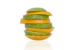 Gesneden sinaasappel in toren Stock Foto