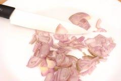 Gesneden sjalot op wit stock fotografie