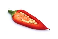 Gesneden Spaanse peper die op wit wordt geïsoleerdf. Royalty-vrije Stock Afbeelding