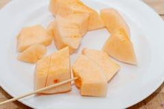 Gesneden van meloen op plaat Royalty-vrije Stock Foto