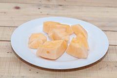 Gesneden van meloen op plaat Stock Foto