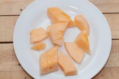Gesneden van meloen op plaat Royalty-vrije Stock Fotografie