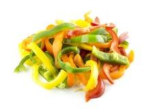Gesneden van zoete groene paprika Stock Afbeelding