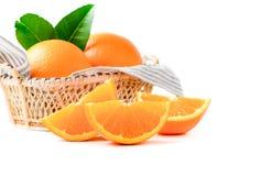 Gesneden verse die sinaasappel op wit wordt geïsoleerd royalty-vrije stock afbeelding