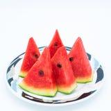 Gesneden watermeloen op witte achtergrond Stock Afbeelding