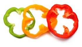 gesneden zoete groene paprika op witte achtergrond Hoogste mening Stock Foto's