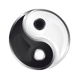 Geïsoleerd glanzend yin en yang pictogram  Royalty-vrije Stock Afbeeldingen