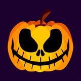 Geïsoleerd Vector Geeloranje Feestelijk Eng Halloween-Pompoenpictogram Stock Fotografie